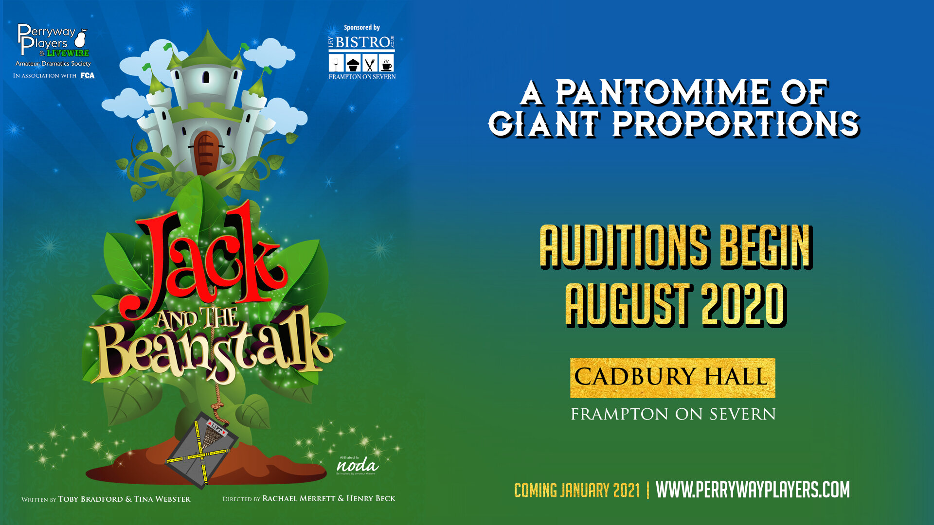Perryway Players announce Auditions for Jack and the Beanstalk 2021